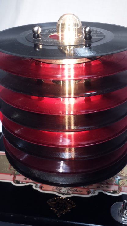 Close up of Red and Black 45 record shade on My Father cigar box lamp. Perfect Gift for Vinyl Collector